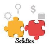Soluzioni di affari con le icone illustrazione vettoriale
