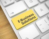 Soluzioni di e-business - messaggio sul bottone giallo della tastiera 3d Immagini Stock