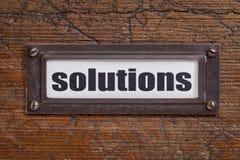 Soluzioni - etichetta del gabinetto di archivio Fotografia Stock Libera da Diritti