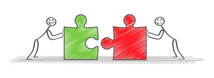 Soluzioni Gruppo e partner di affari che lavorano insieme fondo Illustrazione di vettore di affari di affari di concetto illustrazione di stock