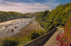 Solva Estuary. The estuary at Solva, in Pembrokeshire, Wales, Uk, is a safe haven for small pleasure craft Stock Photo