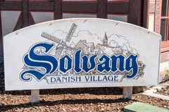Sign welcoming visitors to the California Danish Village of Solvang, a town in Central California in the Santa Ynez valley. SOLVANG, CA: Sign welcoming visitors royalty free stock photo