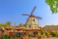 Old Windmill in Solvang. Solvang, California, United States - August 10, 2018: picturesque Windmill in Santa Ynez Valley, Santa Barbara County. Solvang is a royalty free stock images