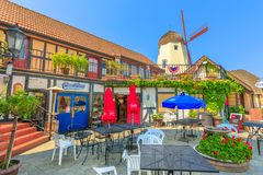 Solvang Tower Pizza. Solvang, California, United States - August 10, 2018: restaurant Tower Pizza with old windmill on background. at Danish of Solvang in Santa royalty free stock photography