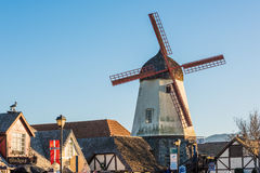 Solvang, USA - February 13, 2016: Danish windmill in a tourist town in California Stock Photography