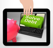 Solve Debt Key Displays Solutions To Money Owing Stock Photo