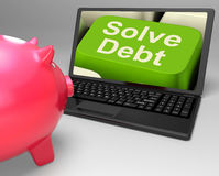 Solve Debt Key Means Solutions To Money Owing Royalty Free Stock Photography