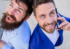 Solve problems immediately. Business people lawyers smiling faces. Business experts online support close up. Business. People hold laptop happy answer phone royalty free stock photography