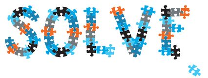 Solve puzzle. A word SOLVE formed with puzzle pieces royalty free illustration
