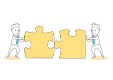 Solve puzzle and solution together Royalty Free Stock Image