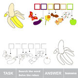 Solve the rebus. Find hidden word BANANA. Task and answer. Search the word Royalty Free Stock Images