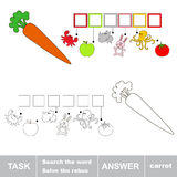 Solve the rebus. Find hidden word CARROT. Task and answer. Search the word Royalty Free Stock Image