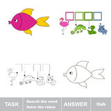 Solve the rebus. Find hidden word fish. Task and answer. Search the word Stock Photography