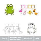 Solve the rebus. Find hidden word frog. Task and answer. Search the word Royalty Free Stock Photos