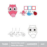 Solve the rebus. Find hidden word OWL. Task and answer. Search the word Royalty Free Stock Photo
