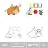 Solve the rebus. Find hidden word YAK Royalty Free Stock Photos