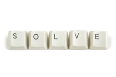 Solve from scattered keyboard keys on white Royalty Free Stock Photography