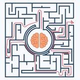 Solved, Brain inside the maze Stock Photo