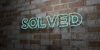 SOLVED - Glowing Neon Sign on stonework wall - 3D rendered royalty free stock illustration. Can be used for online banner ads and direct mailers stock illustration