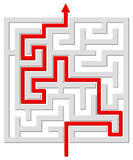 Solved labyrinth. Vector illustration of solved labyrinth with red path across it Royalty Free Stock Photo
