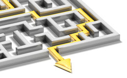 Solved labyrinth with gold arrow Stock Images
