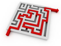Solved maze. A red arrow going through labyrinth Royalty Free Stock Image
