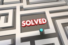 Solved Maze Problem Solution. 3d Illustration Royalty Free Stock Photography