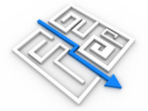 Solved Maze Puzzle. On white background Royalty Free Stock Photography