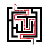 Solved maze, red arrow, 2d. Illustration isolated on white background Stock Photos