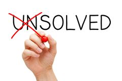 Solved Not Unsolved Solution Concept stock image