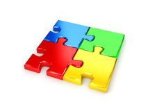 Solved puzzle from blue, red, green and yellow pie Royalty Free Stock Photo