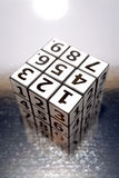 Solved Puzzle Cube. A solved puzzle of numbers in the shape of a cube royalty free stock photos