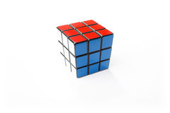 Solved Rubik's Cube. KIEV, UKRAINE - DECEMBER 26, 2014: Rubik's cube on the white background. Rubik's Cube on a white background. Rubik's Cube invented by a royalty free stock photos
