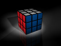 Solved rubki's cube. A solved rubik's cube on a black background with a reflection stock illustration