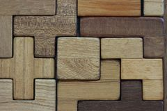 Solved wooden puzzle stock image