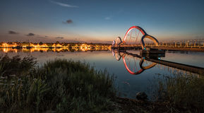 Solvesborg pedestrian bridge with city lights - night view. Solvesborg pedestrian bridge in night scenery Stock Image