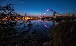 Solvesborg pedestrian bridge - night view from island Royalty Free Stock Images