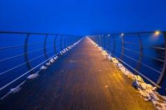 Solvesborgsbron pedestrian bridge at dusk. In Sweden. At 756 meters the longest pedestrian bridge in Europe Stock Photos