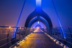 Solvesborgsbron pedestrian bridge at dusk in Sweden. At 756 meters the longest pedestrian bridge in Europe Stock Image
