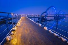 Solvesborgsbron pedestrian bridge at dusk in Sweden. At 756 meters the longest pedestrian bridge in Europe Royalty Free Stock Images