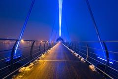 Solvesborgsbron pedestrian bridge at dusk in Sweden. At 756 meters the longest pedestrian bridge in Europe Stock Photos
