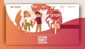 Solving family vector landing page people man woman in family conflict boy girl. Relationship problem with unhappy. Characters illustration quarreling with wife royalty free illustration