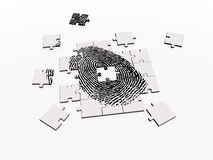 Solving fingerprint puzzle. 3DS Max image of a fingerprint on a jigsaw denoting puzzle, clue, problem, security, crime Royalty Free Stock Photo