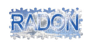 Solving the gas radon - concept image in puzzle shape.  stock images