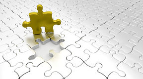 SOLVING JIGSAW PUZZLE Stock Photo