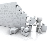 Solving jigsaw puzzle. 3D render of a man solving a jigsaw puzzle Royalty Free Stock Photography