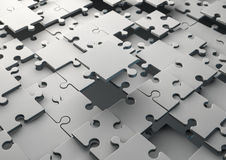 Solving jigsaw puzzle. 3D Render of an incomplete  jigsaw puzzle Stock Images