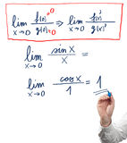 Solving limit equation. Stock Photo