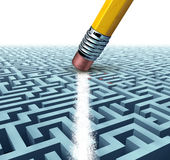 Solving A Problem. And finding the best creative solution against a complicated and complex three dimensional maze having a clear shortcut path created by Royalty Free Stock Photos