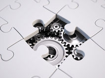 Solving the problem concept. Puzzles and gears royalty free illustration